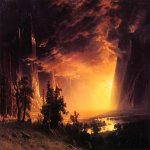 Albert Bierstadt (1830-1902)  Sunset in the Yosemite Valley  Oil on canvas, 1869  Haggin Museum, Stockton